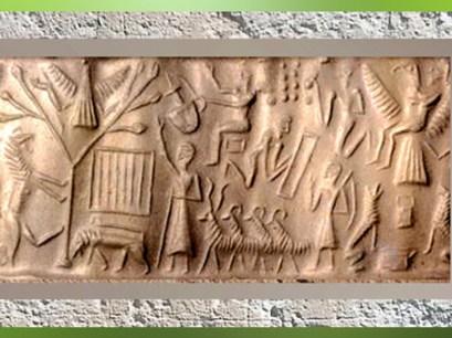 D'après L'ascension du roi Etana de Kish, sceau, vers 2200 avjc, Mésopotamie. (Marsailly/Blogostelle)