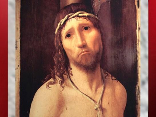 D'après Ecce Homo, peinture d'Antonello da Messine vers 1473 apjc, détail. (Marsailly/Blogostelle)
