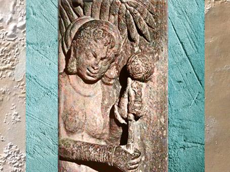 D'après un relief, dit Fleur de Sal, époque Kushana, vers IIe siècle apjc, école de Mathurâ, Uttar Pradesh. (Marsailly/Blogostelle)