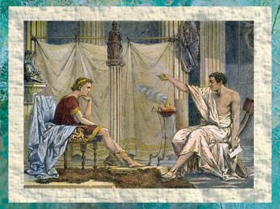 D'après Aristote le professeur et son élève Alexandre, par l'illustrateur Charles Laplante, 1866 apjc, France. (Marsailly/Blogostelle.)