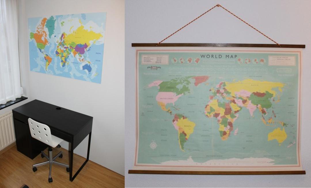 wereldkaart aan de wand
