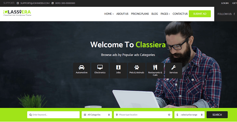 Classiera Themes Wordpress Creer Site Web Annonces Listing Annuaire Directory 1