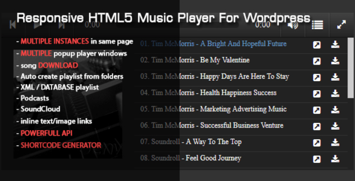 Responsive html5 music player plugins wordpress premium ajouter lecteur audio