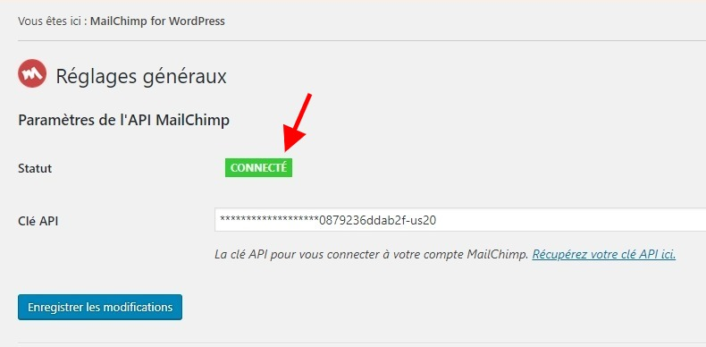Activation cle api mailchimp for wordpress