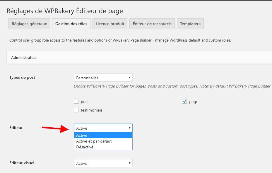 activer léditeur sur WPbakery page builder