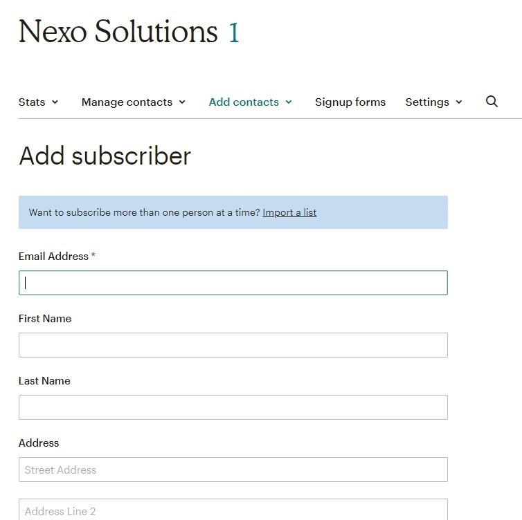 Ajouter des abonnés mailchimp formulaire