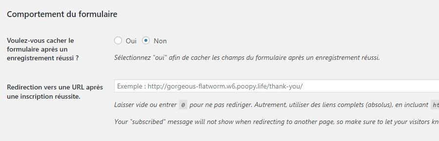 Hành vi của biểu mẫu Mailchimp