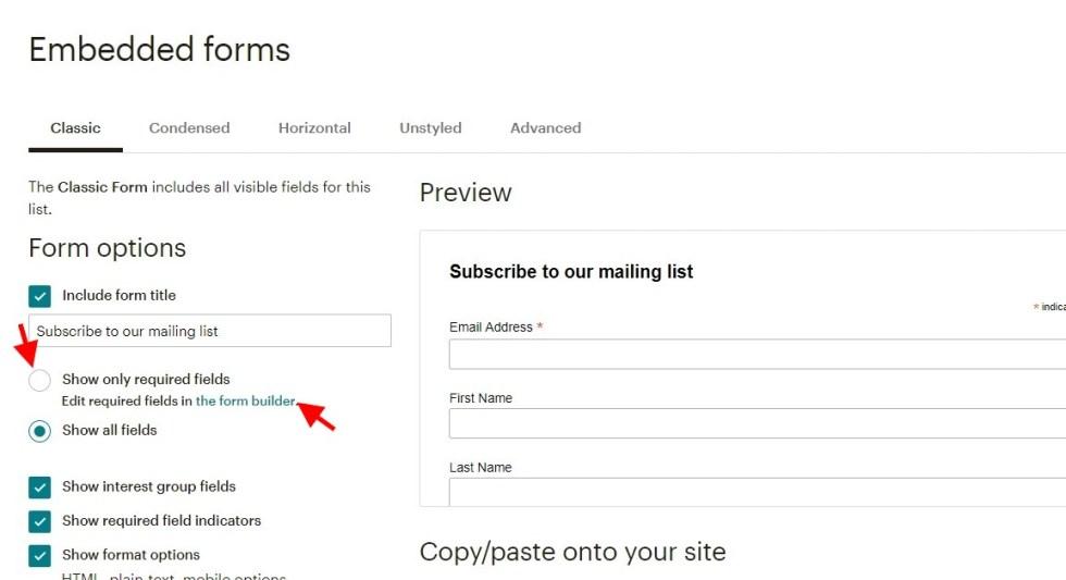 Configurer les champs dun formulaire mailchimp 1