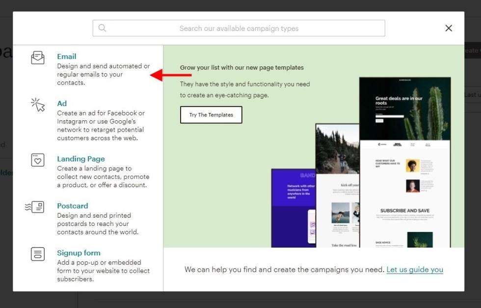 Créer une campagne email mailchimp