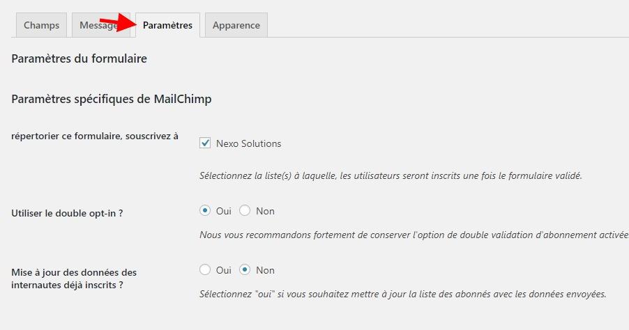 Tham số biểu mẫu Mailchimp