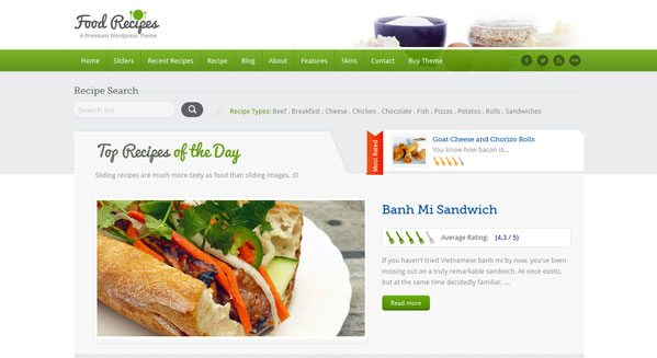 FoodRecipes: un thème WordPress pour créer un blog culinaire