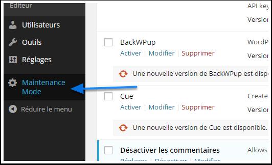Обслуживание режима-меню WordPress