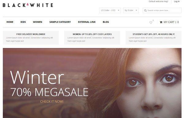a38ccfdda Negro-Blanco-sensibles al tema de Magento-boutique de la moda de correo