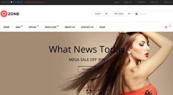 Ozone theme Prestashop pour creer site web e commerce