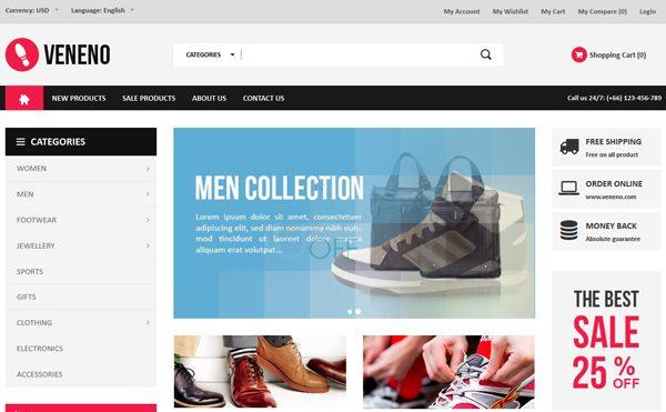 Veneno PrestaShop Créer site web e Commerce