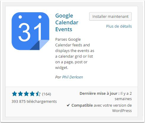 google-calendar-intallation-tableau-de-bord