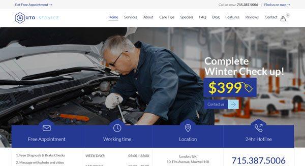 Auto Repair Theme Wordpress Creer Site Web Vitrine Garage Reparation Automobile Moto