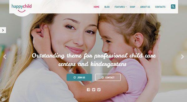 HappyChild : Un Thème WordPress Pour Créer Un Site Web Pour Enfants, Crèches, Babysitting