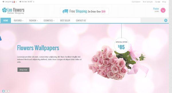 Leo Flowers Thème Prestashop pour vendre des fleurs sur internet