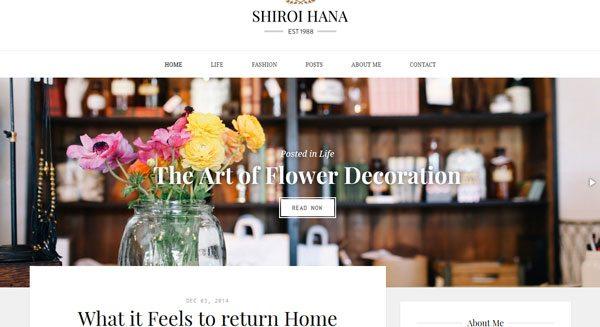 Shiroi Hana : un thème WordPress élégant pour blogueur