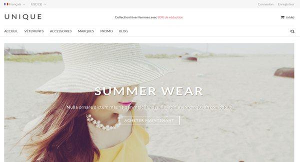 UniqueShop Thème Prestashop pour vendre des habits sur internet
