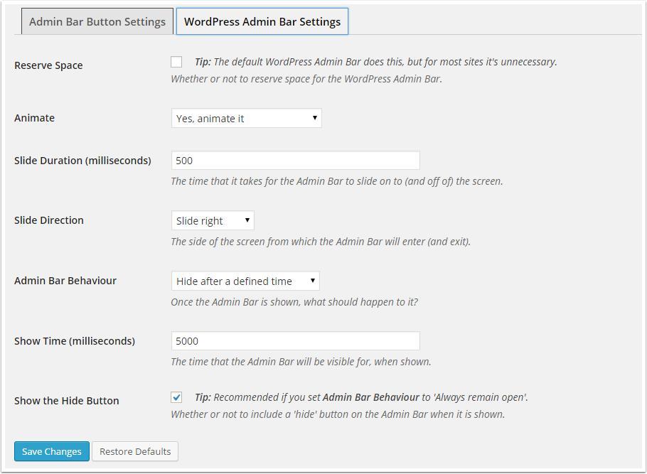 Bar Admin-settings-wordpress