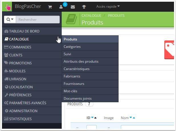 Présentation Interface Catalogue Prestashop