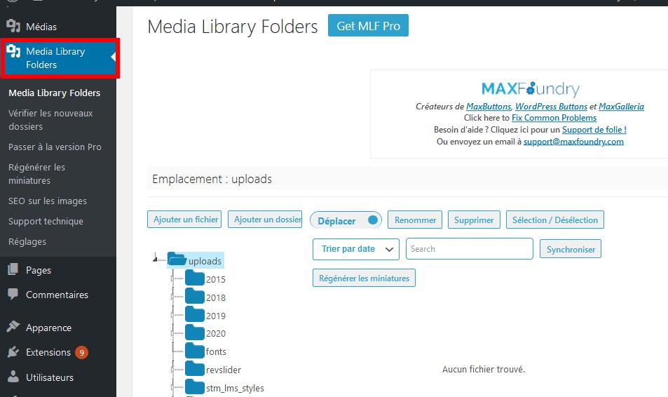 Comment organiser fichiers wordpress dossiers bibliothèque médias blogpascher 1
