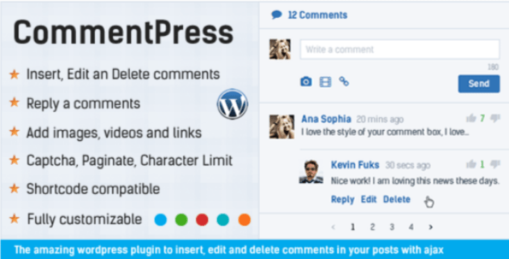 Commentpress ajax comments insert edit and delete comments