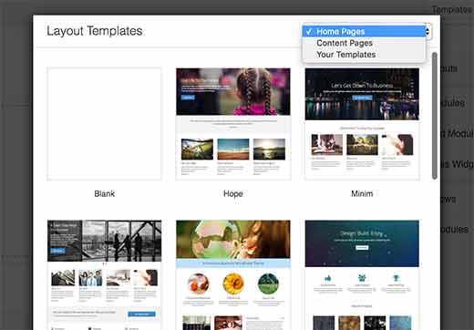 Choisir une mise en page Beaver plugin WordPress
