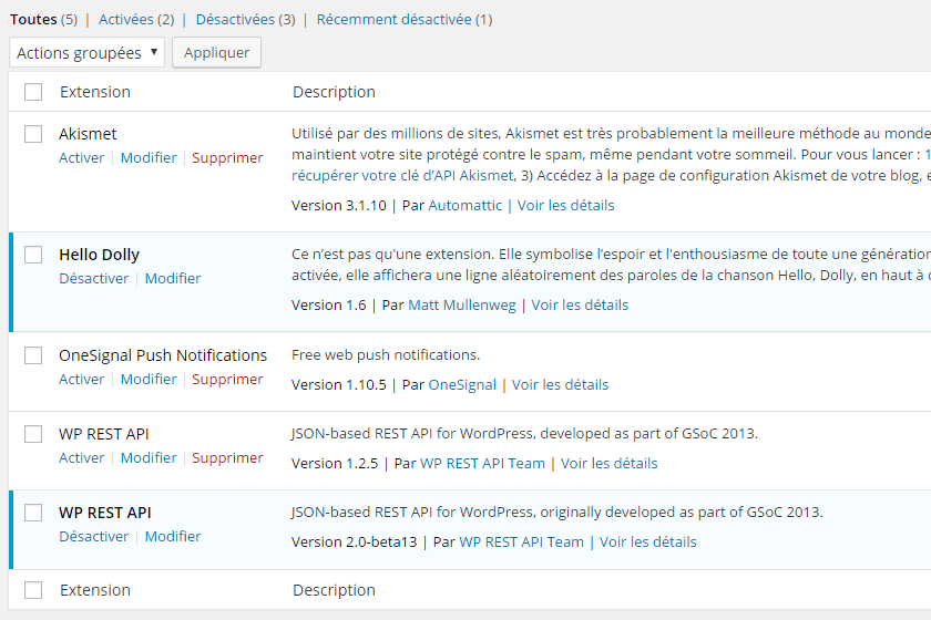 Liste des plugins actifs WordPress