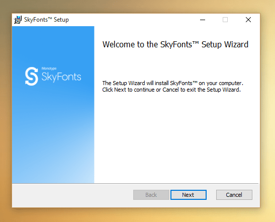Première page d'installation SkyFont sur Windows