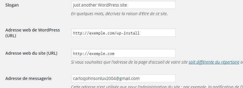 Réglages généraux WordPress