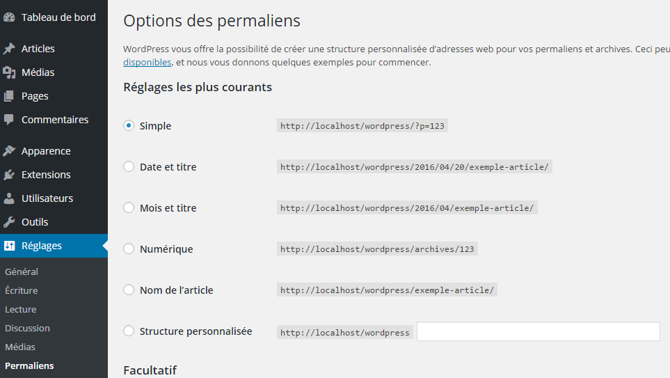 Structure permaliens sur WordPress