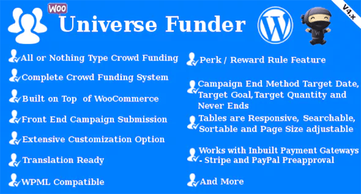 Universe funder plugin wordpress dons