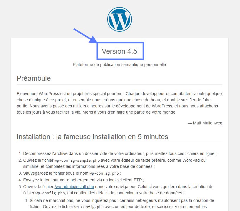 Version de WordPress Readme HTML tutoriel WordPress