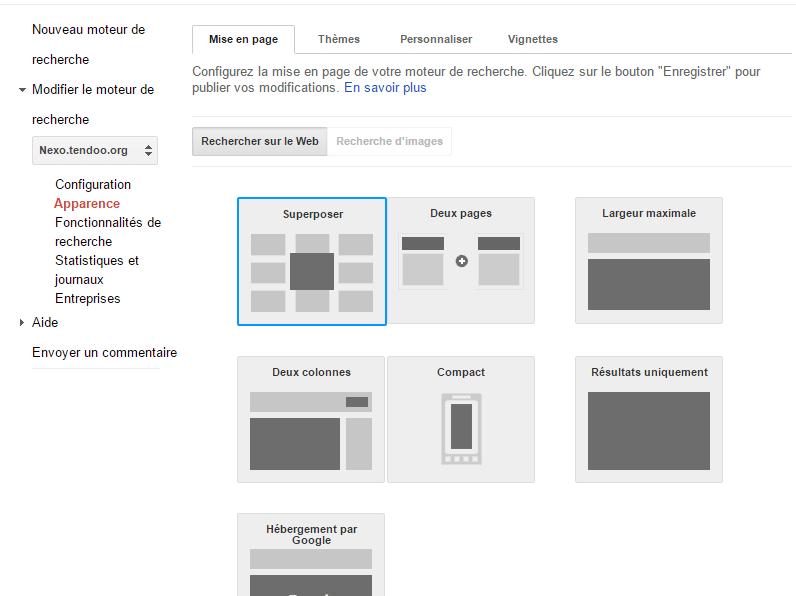 WP Google Search interface du moteur de recherche