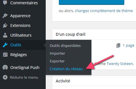 création du réseau tableau de bord WordPress