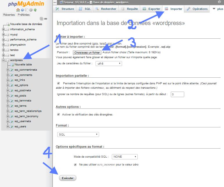 impor basis data pada phpMyAdmin