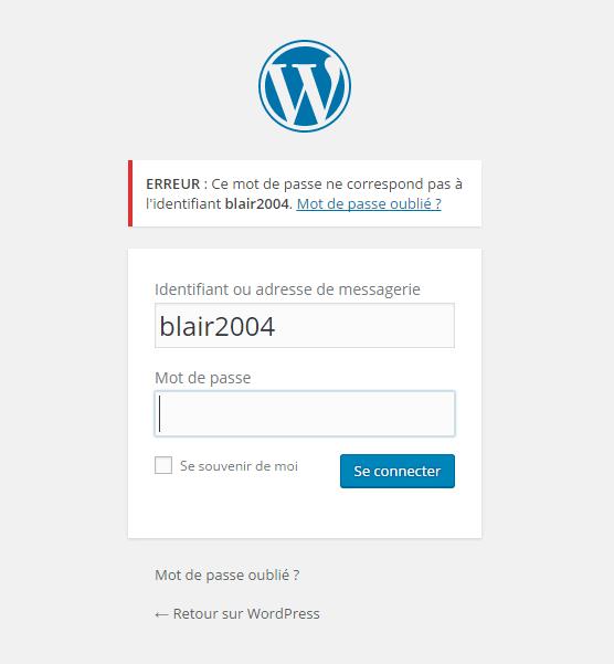 WordPress пароль неправильно уведомление