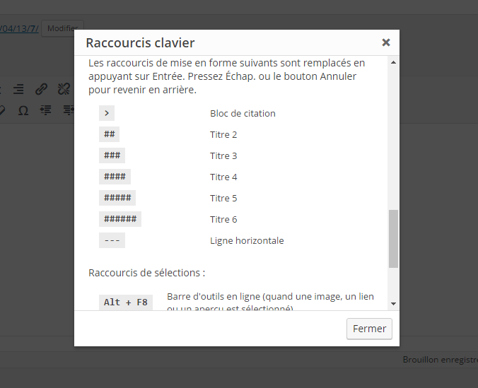 raccourcis claviers WordPress 4.5