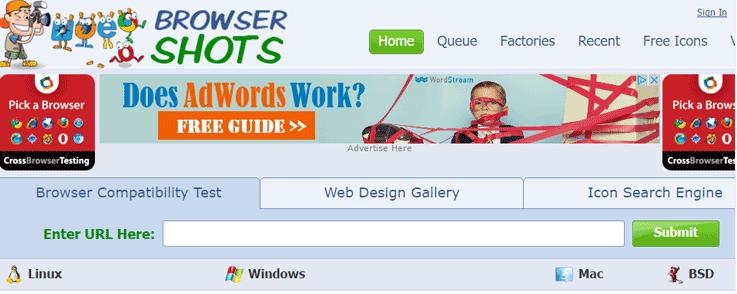 Browser Shots test pour site web