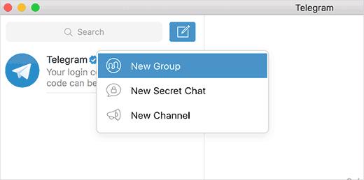 Создание новой группы Telegram