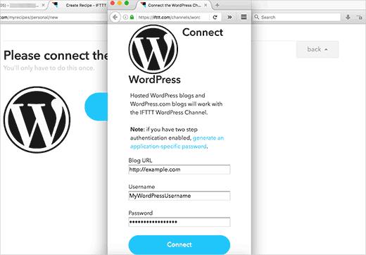 IFTTT connexion à WordPress