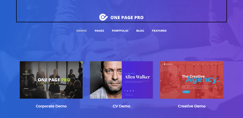 One page pro themes wordpress creer site web agence creative photographe