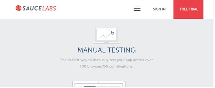 Sauce-laboratórios ferramenta de teste para o site