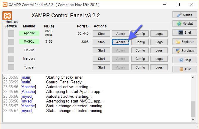admin xampp phpmyadmin