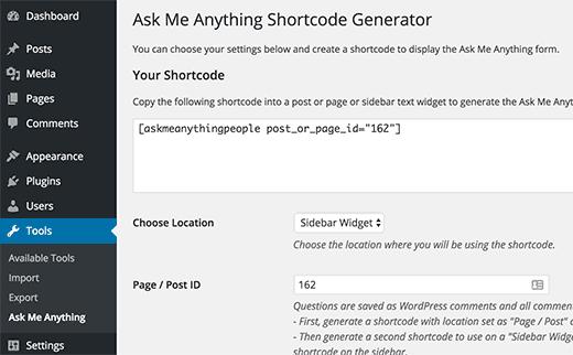 ama-widget-shortcode générateur de shortcode