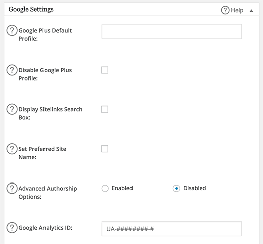 google-settings paternité All In One SEO
