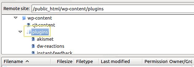 le sous-dossier plugins WordPress